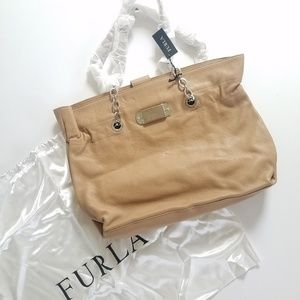 NEW Furla Leather Tote with Silver Chain Straps